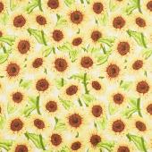 Jardin Du Soleil - Sunflower Allover Tan Yardage