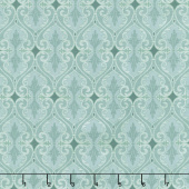 Totally Tulips - Teal Damask Dark Teal Pearlized Yardage