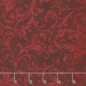 Poinsettia & Pine - Elegant Scrolls Dark Red Yardage