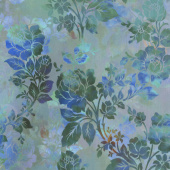 Diaphanous - Night Bloom Teal Digitally Printed Yardage
