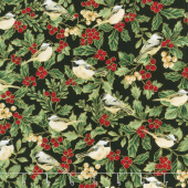 A Joyful Season - Holly And Birds Black Metallic Yardage