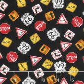 My Favorite Trucks - Traffic Signs Black Yardage