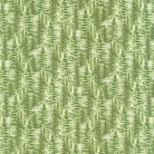 Lakeside Lodge - Packed Trees Green Flannel Yardage