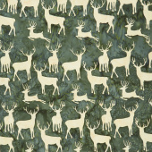 Candy Cane Lane Batiks - Deer Grouping Grass Yardage