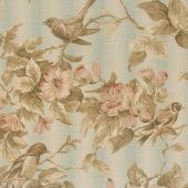 Collection for a Cause - Heritage 10th Anniversary Birds & Flowers Aqua Yardage