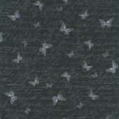 Garden Rose - Antique Butterfly Text Black Yardage