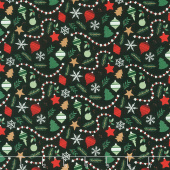 Christmas Traditions - Ornaments Black Yardage