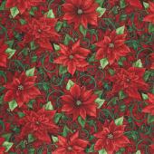Evergreen - Prized Poinsettias Holly Metallic Yardage
