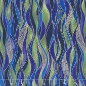 Dragonfly Dance - Blue Dancing Waves Evergreen Purple Metallic Yardage