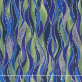 Dragonfly Dance - Blue Dancing Waves Evergreen Purple Metallic Yardage