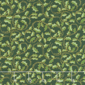 Festive Chickadee - Golden Leaf Scroll Dark Green Metallic Yardage