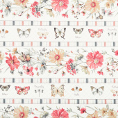 A Country Weekend - Floral Repeating Stripe Multi Yardage