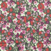 Garden Delights - Impatiens Red/Black Yardage