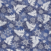 Holiday Flourish 12 - Peacock Branches Navy Metallic Yardage