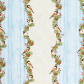 Festive Chickadee - Stripe Sea Mist Metallic Yardage