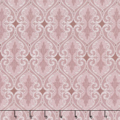 Totally Tulips - Pink & Grey Damask Dark Pink Pearlized Yardage