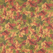 Bounty of the Season - Leaves Autumn Metallic Yardage