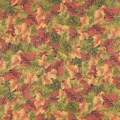Bounty of the Season - Leaves Autumn Metallic Yardage