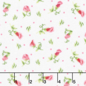 Sweet Pea - Sweet Pea Buds White Flannel Yardage