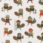 Campsite Critters Flannel - Beavers Nature Yardage