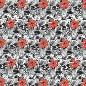 Red Alert - Flowers and Leaf Allover Red Yardage