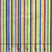 A Stitch in Time - Primary Brights Barcode Stripe Black Multi Yardage