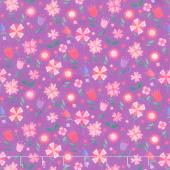 Uni the Unicorn - Flowers Purple Yardage