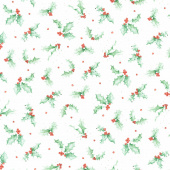 Warm Wishes - Holly Ultra White Green Yardage