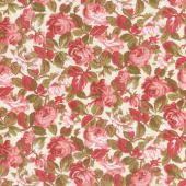 Rhapsody in Reds - Tonal Floral Ivory Yardage