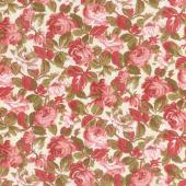 Rhapsody in Reds - Tonal Floral Ivory Yardage