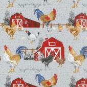 Chicken Scratch - Chicken with Barn Scene Gray Yardage