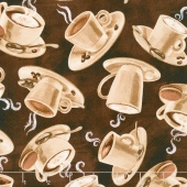 Novelty - Tossed Coffee Cups Espresso Yardage