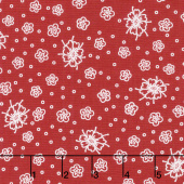Scarlet Romance - Small Floral White on Red Yardage