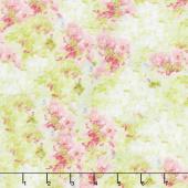 Flower Market - Hydrangea Texture Green Pink Yardage
