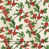 Merry, Berry, and Bright - Boughs of Holly Radiant Vanilla Metallic Yardage
