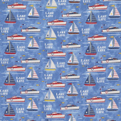 Lake Life - Lake Fun Blue Yardage