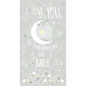 Moon and Stars - To The Moon and Back Grey Panel