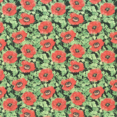 Harlequin Poppies - Poppies and Leaves Black Yardage