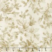 Aubergine - Tonal Leaves Ivory Yardage