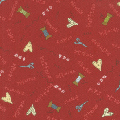 Home Sewn - Novelty Scatter Red Yardage