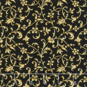 A Joyful Season - Flower Scroll Black Metallic Yardage