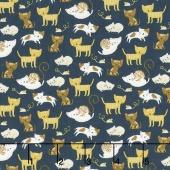 Woof Woof Meow - Kitty Shenanigans Navy Yardage