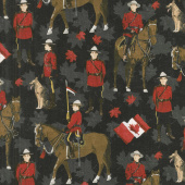 Canadian Classics - Mountie Black Digitally Printed Yardage