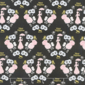 Mary Poppins - Damask Carbon Metallic Yardage