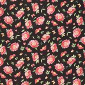 Pink Garden - Floral Toss Black Yardage