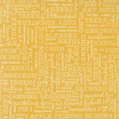 Autumn Love - Text Yellow Yardage