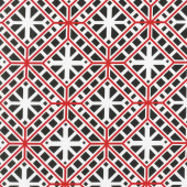 Cherry Twist - Geo Trellis Black/Cherry Yardage