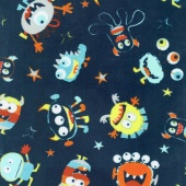 "Cuddle Prints - You Scared Me! Navy 60"" Minky Yardage"
