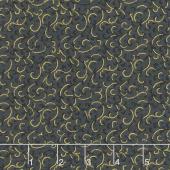 Gilded Blooms - Scrolls Black Metallic Yardage