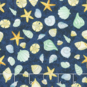 Water Wishes - Seashells Navy Green Yardage